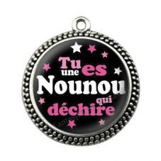 """Pendentif Cabochon en Résine """"Nounou qui Déchire"""" 25mm pour la Création de Bijoux Fantaisie - DIY"""