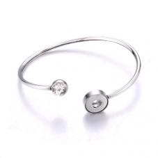 Support Bracelet Ajustable en Acier Inoxydable pour Bouton Snap 12mm
