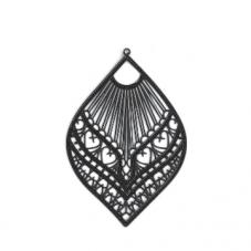 4 Breloques Estampe Filigrane Noir en Métal 20x12mm pour la Création de Bijoux Fantaisie - DIY