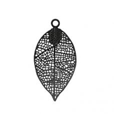 4 Breloques Feuille Estampe Filigrane en Métal Noir 30x16mm pour la Création de Bijoux Fantaisie - DIY