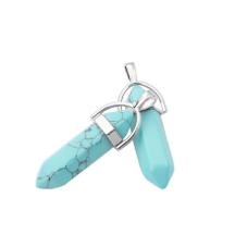 Pendentif en Pierre Naturelle Turquoise 4cm pour la Création de Bijoux Fantaisie - DIY