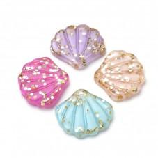 5 Breloques en Résine Coquillage Paillettes Multicolore 18x20mm pour la Création de Bijoux Fantaisie - DIY