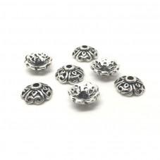 10 Coupelles Calottes pour Perles Argenté Vieilli 8x3mm pour la Création de Bijoux Fantaisie - DIY