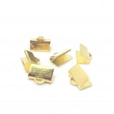 15 Embouts Pinces Griffes Attaches Dorés pour Ruban 10mm pour la Création de Bijoux Fantaisie - DIY