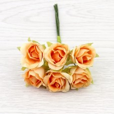 6 Tiges de Fleur Rose Orange 2-3cm