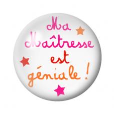 """Cabochon en Verre Illustré """"Maîtresse Géniale"""" 12 à 25mm pour la Création de Bijoux Fantaisie - DIY"""