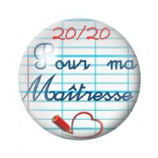 """Cabochon en Verre Illustré """"20/20 pour ma Maîtresse"""" 12 à 25mm pour la Création de Bijoux Fantaisie - DIY"""