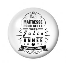 """Cabochon en Verre Illustré """"Merci Maîtresse"""" 12 à 25mm pour la Création de Bijoux Fantaisie - DIY"""