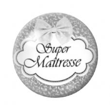 """Cabochon en Verre Illustré """"Super Maîtresse"""" 12 à 25mm pour la Création de Bijoux Fantaisie - DIY"""