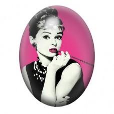 Cabochon en Verre Illustré Audrey Hepburn 13x18, 18x25 ou 30x40mm pour la Création de Bijoux Fantaisie - DIY