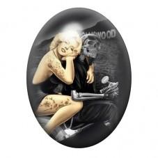 Cabochon en Verre Illustré Marilyn Monroe Gothique 13x18, 18x25 ou 30x40mm pour la Création de Bijoux Fantaisie - DIY