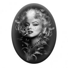 Cabochon en Verre Illustré Marilyn Monroe Noir & Blanc 13x18, 18x25 ou 30x40mm pour la Création de Bijoux Fantaisie - DIY
