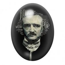 Cabochon en Verre Illustré  Edgar Allan Poe Écrivain 13x18, 18x25 ou 30x40mm pour la Création de Bijoux Fantaisie - DIY
