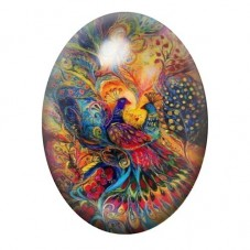 Cabochon en Verre Illustré Paon 13x18, 18x25 ou 30x40mm pour la Création de Bijoux Fantaisie - DIY