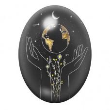 Cabochon en Verre Illustré Planète et Lune 13x18, 18x25 ou 30x40mm pour la Création de Bijoux Fantaisie - DIY