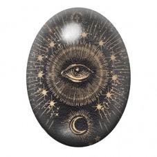 Cabochon en Verre Illustré Oeil et Lune 13x18, 18x25 ou 30x40mm pour la Création de Bijoux Fantaisie - DIY