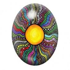 Cabochon en Verre Illustré Soleil Coloré 13x18, 18x25 ou 30x40mm pour la Création de Bijoux Fantaisie - DIY