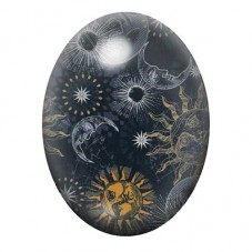 Cabochon en Verre Illustré Soleil et Lune 13x18, 18x25 ou 30x40mm pour la Création de Bijoux Fantaisie - DIY