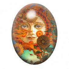 Cabochon en Verre Illustré Soleil 13x18, 18x25 ou 30x40mm pour la Création de Bijoux Fantaisie - DIY