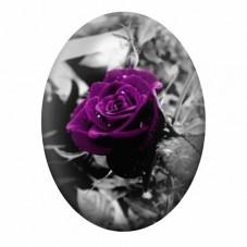 Cabochon en Verre Illustré Rose Fleur 13x18, 18x25 ou 30x40mm pour la Création de Bijoux Fantaisie - DIY