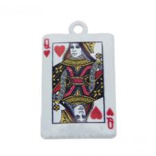 2 Breloques Carte Reine de Coeur en Émail 26x15mm pour la Création de Bijoux Fantaisie - DIY
