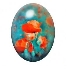 Cabochon en Verre Illustré Fleurs Coquelicots13x18, 18x25 ou 30x40mm pour la Création de Bijoux Fantaisie - DIY