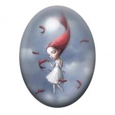 Cabochon en Verre Illustré Petite Fille Poisson Étrange 13x18, 18x25 ou 30x40mm pour la Création de Bijoux Fantaisie - DIY