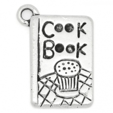 4 Breloques Livre de Cuisine Argenté 20x14mm pour la Création de Bijoux Fantaisie - DIY