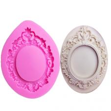 Moule en Silicone Cadre Ovale Miroir Vintage  Fimo Résine Gâteau