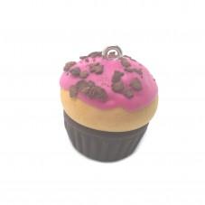 Breloque Cupcake Fraise/Choco en Fimo Fait-Main 20mm pour la Création de Bijoux Fantaisie - DIY