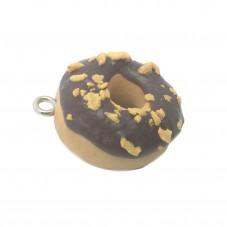 Breloque Donuts Chocolat/Cacahuète en Fimo Fait-Main 20mm pour la Création de Bijoux Fantaisie - DIY