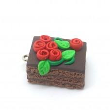Breloque Part de Gâteau au Chocolat en Fimo Fait-Main 20x15mm pour la Création de Bijoux Fantaisie - DIY