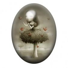 Cabochon en Verre Illustré Petite Fille Arbre Oiseaux Étrange 13x18, 18x25 ou 30x40mm pour la Création de Bijoux Fantaisie - DIY