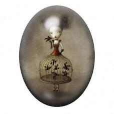 Cabochon en Verre Illustré Petite Fille Cage Oiseaux Étrange 13x18, 18x25 ou 30x40mm pour la Création de Bijoux Fantaisie - DIY