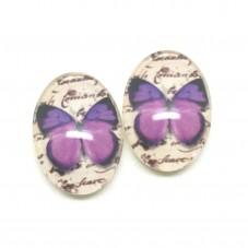 2 Cabochons en Verre Illustrés Papillon Violet 13x18mm pour la Création de Bijoux Fantaisie - DIY