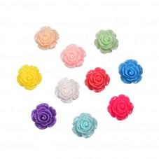10 Cabochons Fleur Rose en Résine Multicolore 14mm pour la Création de Bijoux Fantaisie - DIY