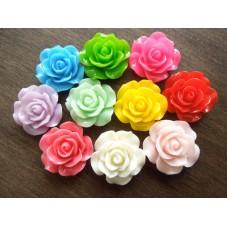 10 Cabochons Fleur Rose en Résine Multicolore 18mm pour la Création de Bijoux Fantaisie - DIY