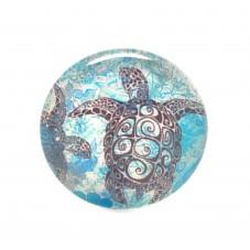 Cabochon en Verre Illustré Tortue de Mer 25mm pour la Création de Bijoux Fantaisie - DIY