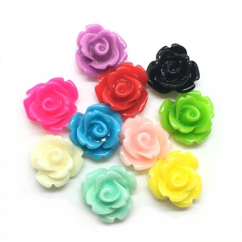 10 Cabochons Fleur Rose en Résine Multicolore 10mm