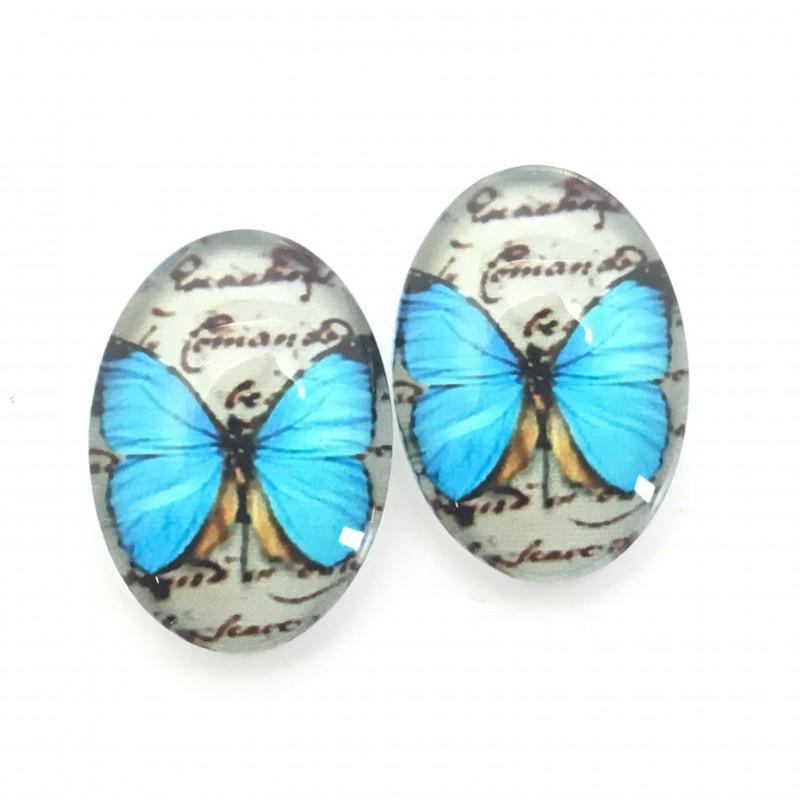2 Cabochons en Verre Illustrés Papillon Bleu13x18mm