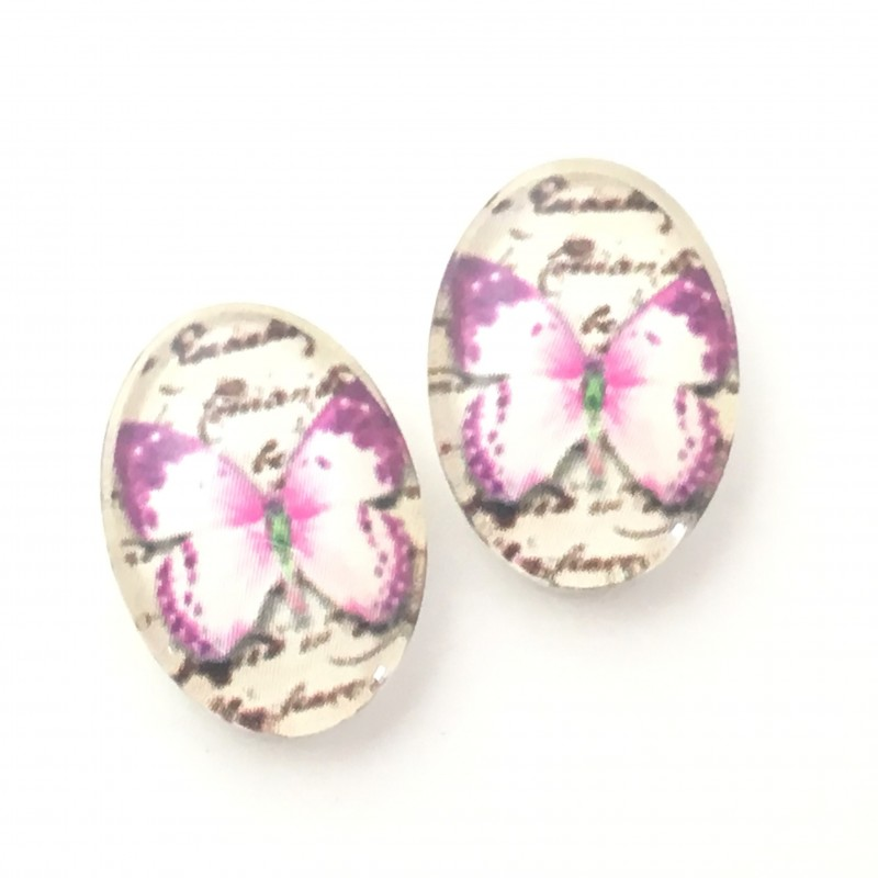 2 Cabochons en Verre Illustrés Papillon Rose 13x18mm