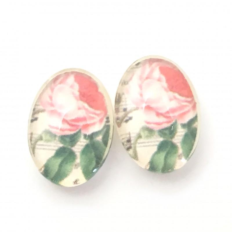 2 Cabochons en Verre Illustrés Fleurs Rose 13x18mm