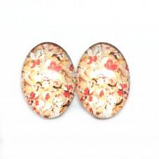 2 Cabochons en Verre Illustrés Fleurs 13x18mm pour la Création de Bijoux Fantaisie - DIY