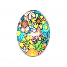 Cabochon en Verre Illustré Fleurs 18x25mm pour la Création de Bijoux Fantaisie - DIY