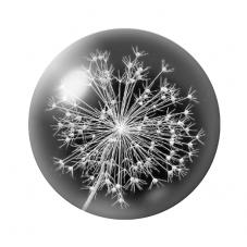 Cabochon en Verre Illustré Pissenlit 12 ou 20mm pour la Création de Bijoux Fantaisie - DIY