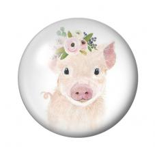 Cabochon en Verre Illustré Cochon Fleurs 12 ou 20mm pour la Création de Bijoux fantaisie - DIY