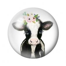 Cabochon en Verre Illustré Vache Fleurs 12 ou 20mm pour la Création de Bijoux fantaisie - DIY