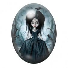 Cabochon en Verre Illustré Petite Fille Corbeaux Gothique 13x18, 18x25 ou 30x40mm pour la Création de Bijoux Fantaisie - DIY