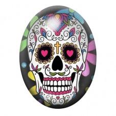 Cabochon en Verre Illustré Crâne Mexicain Cavalera 13x18, 18x25 ou 30x40mm pour la Création de Bijoux Fantaisie - DIY