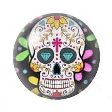 Cabochon en Verre Illustré Crâne Mexicain Cavalera 12 à 25mm pour la Création de Bijoux Fantaisie - DIY